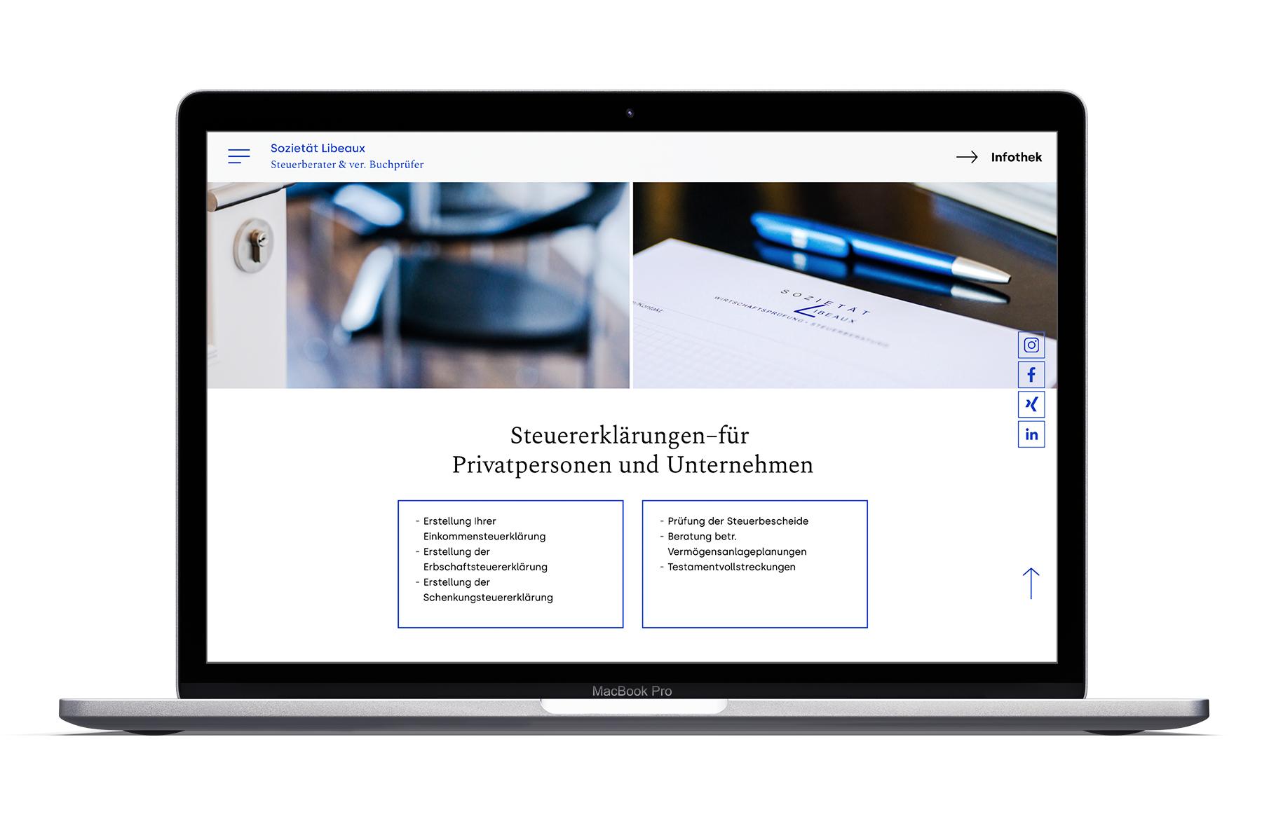 Webentwicklung für die Sozietät Libeaux aus Aachen
